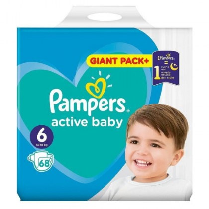 PAMPERS ACTIVE BABY-DRY No6 τεμ.x68 (ΤΙΜΗ ΑΝΑ ΠΑΝΑ 0,26€)