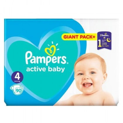 PAMPERS Πάνες Active Baby Giant Pack+ No4 9-14kg 90τμχ.(Τιμή ανά πάνα 0,20€)