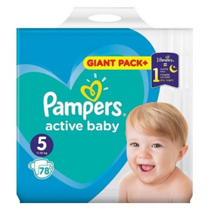 PAMPERS Πάνες Active Baby Giant Pack No5 11-16kg 78τμχ.(ΤΙΜΗ ΑΝΑ ΠΑΝΑ 0,23€)